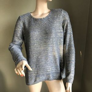 CHICO'S Gold Sequins Gray Knit Sweater Sz 2 / M